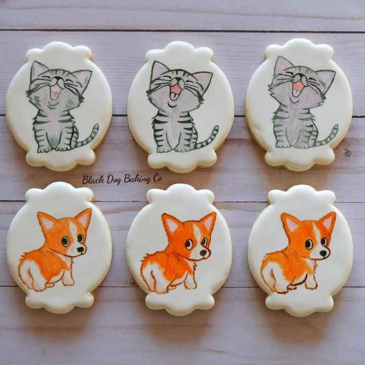Some hand painted puppies and kitties to make your day a little brighter! 😍🐶😸...#blackdogbakingco #customcookies #sugarc...