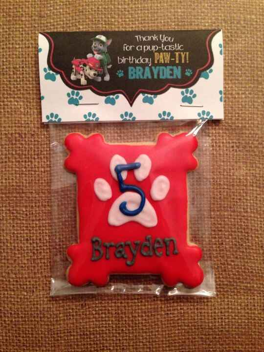 Paw Patrol cookie favors (with customer provided bag topper)