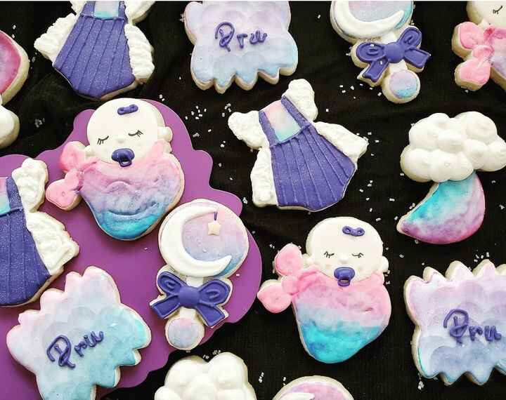 """""""Twilight Skies"""" was the theme to celebrate this special baby girl arriving soon 👶💗💜💙 Each cookie was hand painted with ..."""