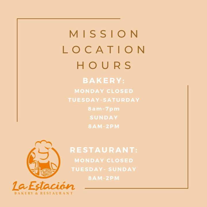 Updated hours for both locations! Mission location will now be open on Tuesday starting 01/05! See you soon!