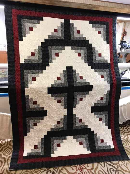 Look at this lovely customer quilt- she has made it for her Pastor & his wife.  Picture doesn't do it full justice!  Wha...