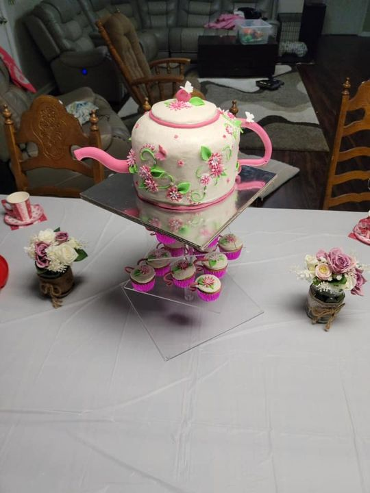 Tea time! Just finished making this adorable buttercream Teapot Cake and teacup cupcakes this morning.  Well have to do ...